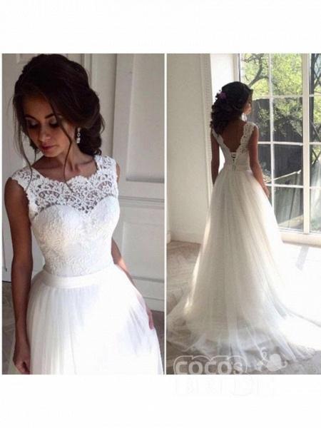 New Lace O-Neck Lace Tulle Boho Wedding Dresses_2