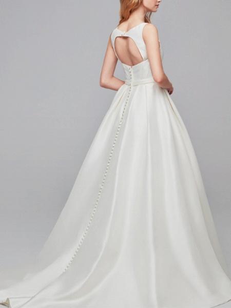 A-Line Wedding Dresses Jewel Neck Court Train Satin Regular Straps Simple Backless Elegant_2