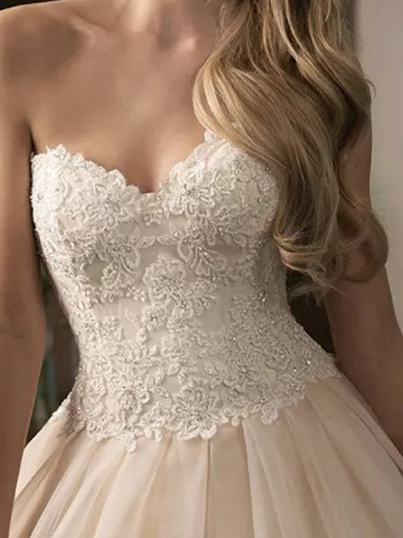 Ball Gown Wedding Dresses Sweetheart Neckline Court Train Lace Satin Tulle Sleeveless Formal_4