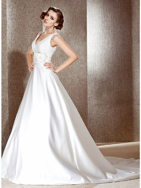 Princess A-Line Wedding Dresses V Neck Cathedral Train Satin Sleeveless_2