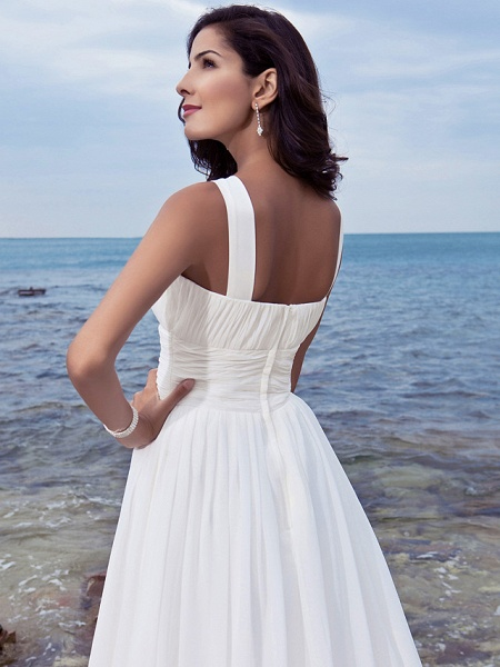 A-Line Wedding Dresses Jewel Neck Sweep \ Brush Train Chiffon Regular Straps Formal Beach Plus Size_4