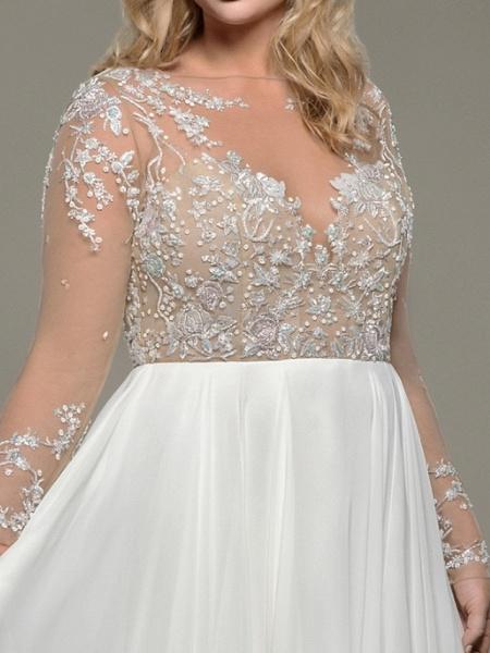 A-Line Wedding Dresses Bateau Neck Floor Length Satin Tulle Long Sleeve Romantic Plus Size Illusion Sleeve_2