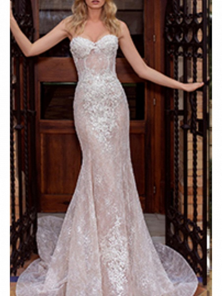 Mermaid \ Trumpet Wedding Dresses Strapless Court Train Lace Strapless_1