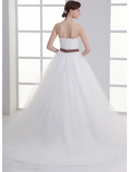 A-Line Wedding Dresses Sweetheart Neckline Court Train Lace Satin Tulle Strapless_4