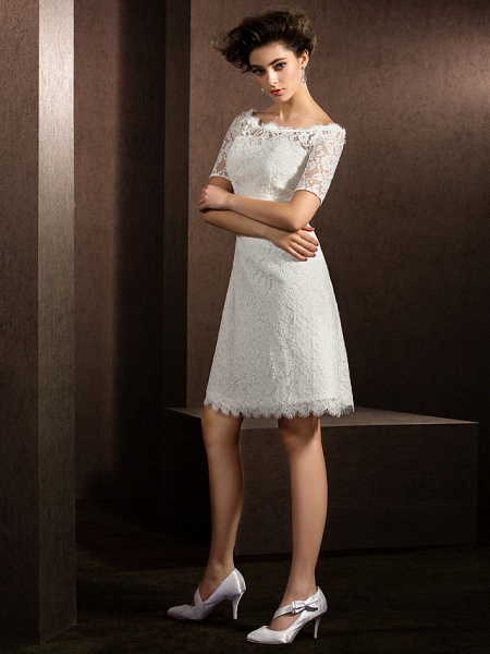 A-Line Wedding Dresses Bateau Neck Knee Length Lace Half Sleeve Formal Casual Little White Dress Illusion Sleeve_9