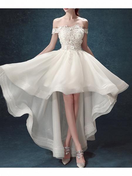 A-Line Wedding Dresses Off Shoulder Asymmetrical Chiffon Tulle Sleeveless Formal Illusion Detail Plus Size_1