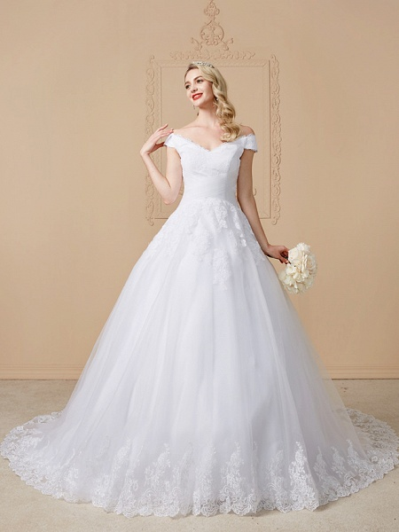 Ball Gown V Neck Cathedral Train Lace Tulle Cap Sleeve Glamorous Illusion Detail Wedding Dresses_4