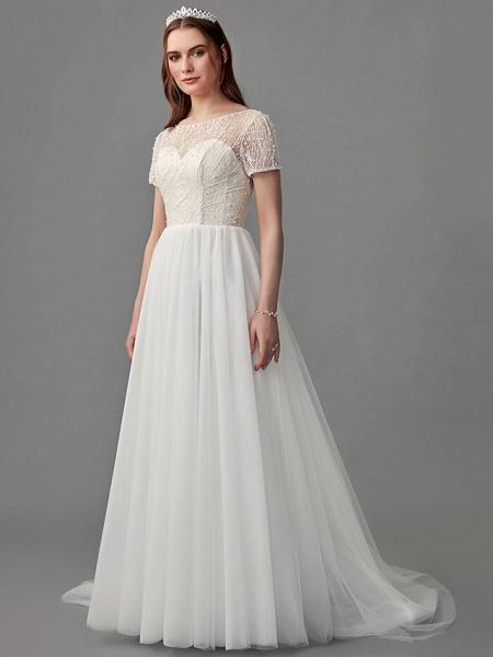 A-Line Wedding Dresses Jewel Neck Sweep \ Brush Train Lace Satin Tulle Short Sleeve 3\4 Length Sleeve Sexy_3