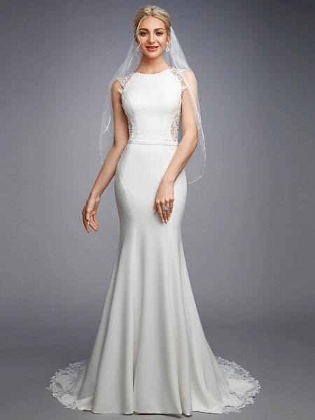 Mermaid \ Trumpet Wedding Dresses Bateau Neck Court Train Chiffon Lace Regular Straps Sexy Illusion Detail Backless_1