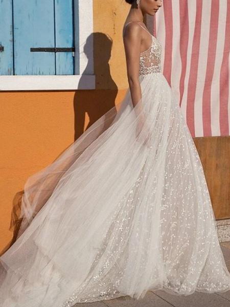 A-Line Wedding Dresses V Neck Floor Length Tulle Sleeveless Casual Boho Plus Size_2