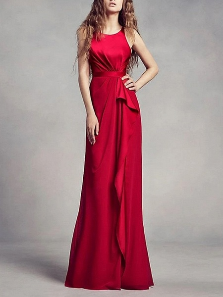 A-Line Wedding Dresses Jewel Neck Floor Length Satin Regular Straps Romantic Plus Size Black Red_1
