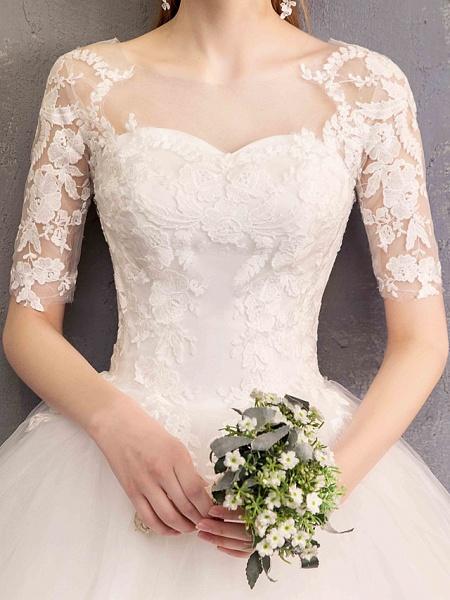 Ball Gown Wedding Dresses Sweetheart Neckline Floor Length Lace Tulle Half Sleeve Glamorous See-Through Illusion Sleeve_6