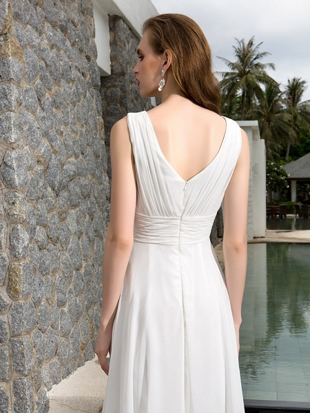 A-Line Wedding Dresses V Neck Asymmetrical Georgette Regular Straps Formal Simple Casual Plus Size_3