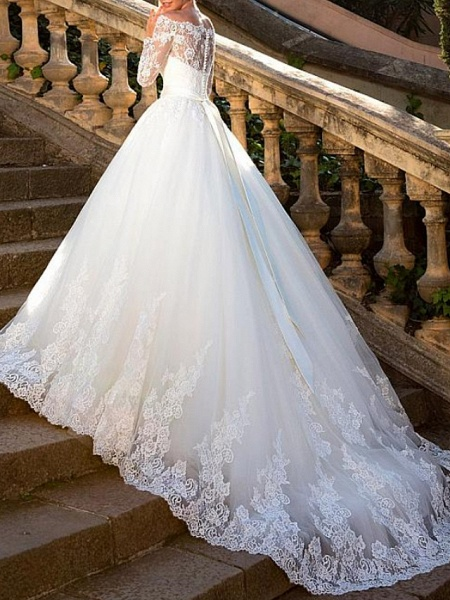Ball Gown A-Line Wedding Dresses Off Shoulder Court Train Lace Tulle Long Sleeve Formal See-Through_2