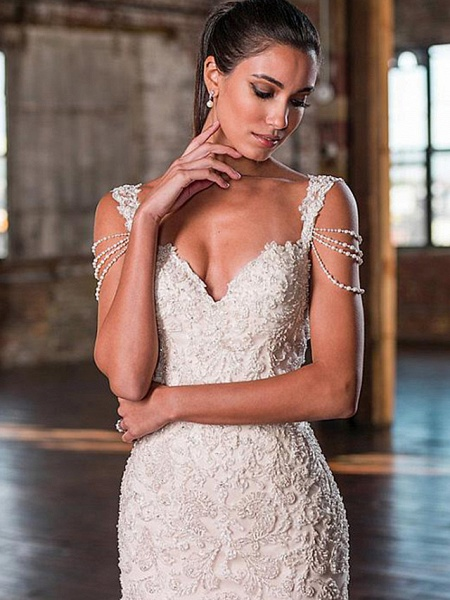 Mermaid \ Trumpet V Neck Court Train Lace Tulle Lace Over Satin Spaghetti Strap Plus Size Wedding Dresses_3
