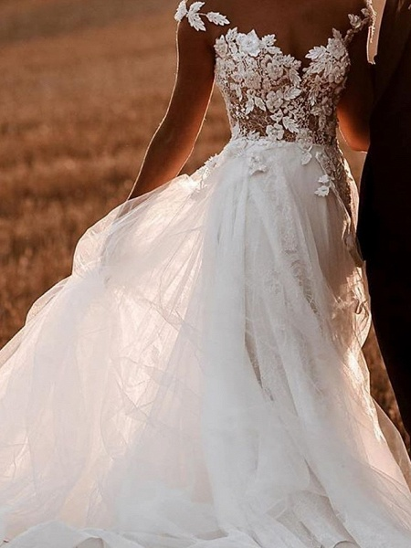 A-Line Wedding Dresses Jewel Neck Sweep \ Brush Train Lace Tulle Short Sleeve Sexy See-Through_3