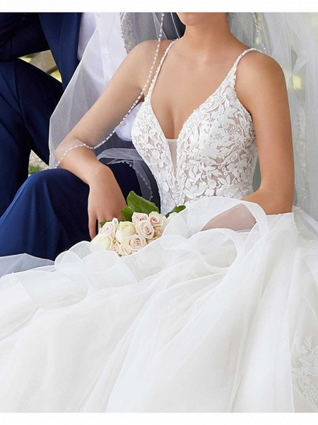 A-Line Spaghetti Strap Court Train Polyester Sleeveless Country Plus Size Wedding Dresses_3