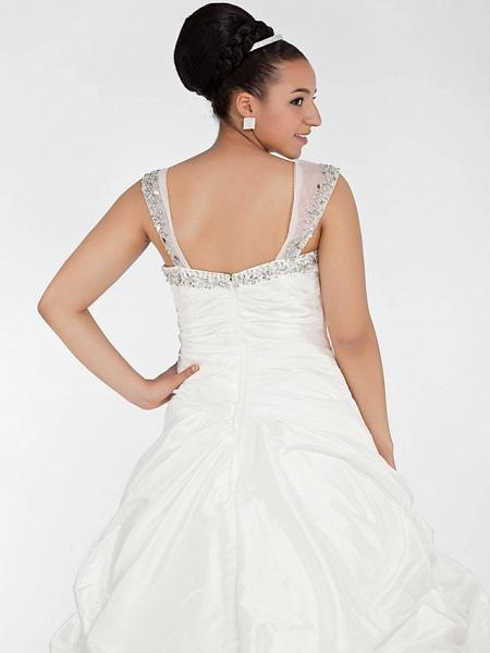 Ball Gown Sweetheart Neckline Chapel Train Taffeta Sleeveless Sparkle & Shine Wedding Dresses_5