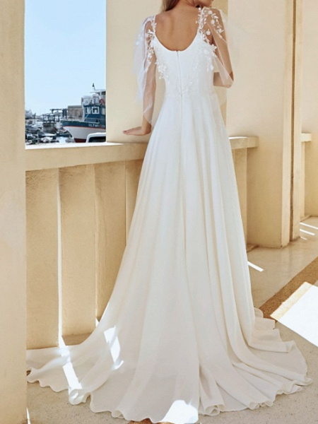A-Line Wedding Dresses V Neck Sweep \ Brush Train Lace Stretch Satin Jersey Short Sleeve Country Plus Size Illusion Sleeve_2