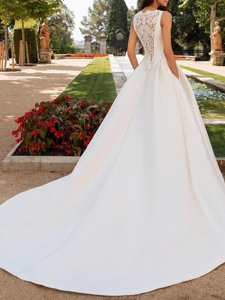 A-Line Wedding Dresses Bateau Neck Court Train Satin Regular Straps Romantic Plus Size Elegant_2