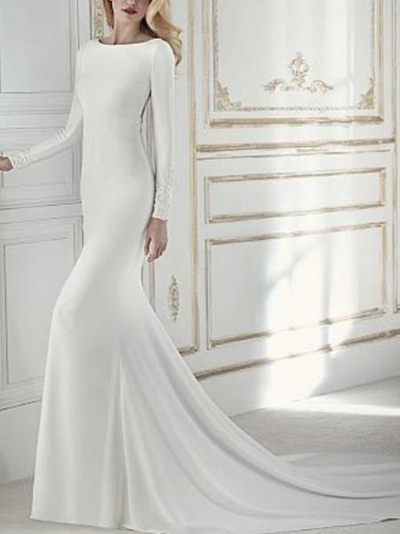 Sheath \ Column Wedding Dresses Jewel Neck Court Train Chiffon Long Sleeve_1