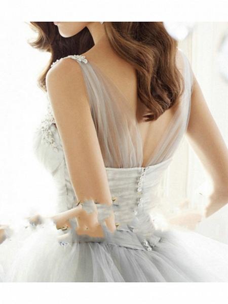 A-Line Wedding Dresses V Neck Floor Length Tulle Regular Straps Formal Plus Size_2