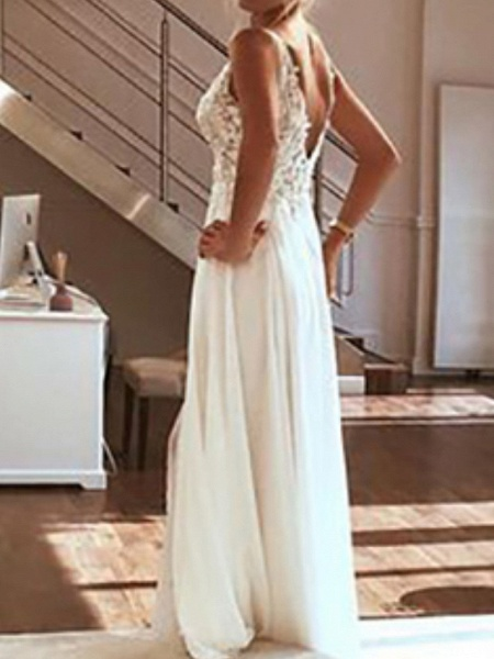 A-Line Wedding Dresses V Neck Spaghetti Strap Sweep \ Brush Train Lace Chiffon Over Satin Sleeveless Beach Boho Sexy_2