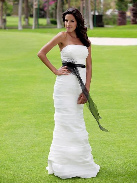 Mermaid \ Trumpet Wedding Dresses Strapless Floor Length Organza Satin Sleeveless Wedding Dress in Color_2