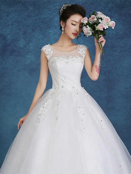 Ball Gown Wedding Dresses Scoop Neck Floor Length Satin Tulle Cap Sleeve Romantic See-Through Backless_6