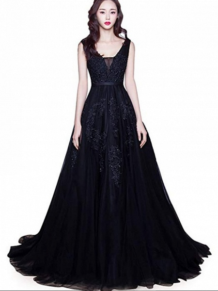 A-Line V Neck Court Train Lace Tulle Regular Straps Black Wedding Dresses_1