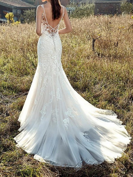 Mermaid \ Trumpet V Neck Sweep \ Brush Train Lace Tulle Chiffon Over Satin Sleeveless Country Plus Size Wedding Dresses_2
