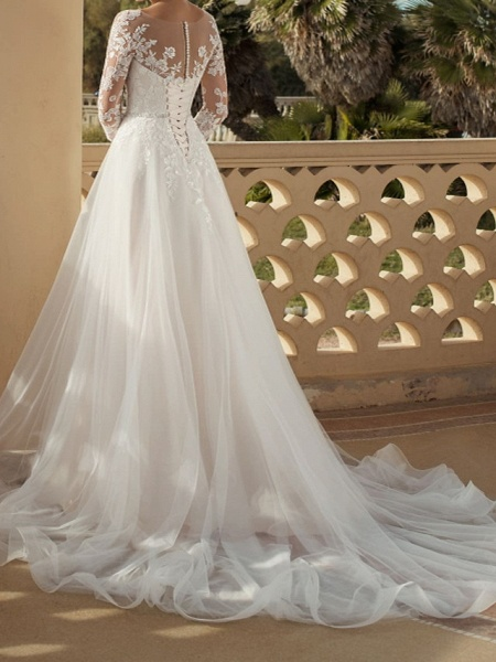 A-Line Wedding Dresses V Neck Sweep \ Brush Train Lace Tulle 3\4 Length Sleeve Country Plus Size_3