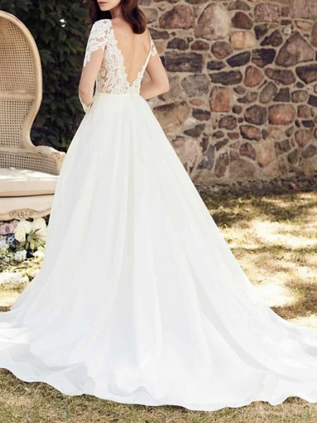 A-Line Wedding Dresses V Neck Court Train Lace Tulle Long Sleeve Illusion Sleeve_3
