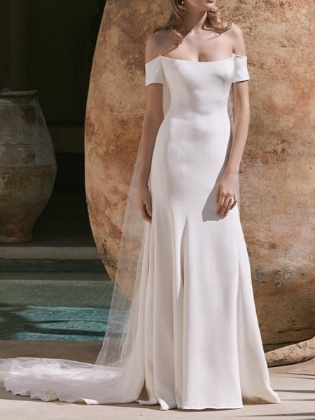 A-Line Wedding Dresses Off Shoulder Court Train Satin Sleeveless Country Plus Size_1