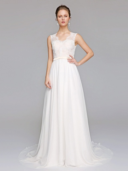 A-Line Wedding Dresses V Neck Court Train Chiffon Lace Bodice Regular Straps Simple Illusion Detail Backless_1