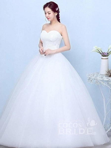 Simple Generous Lace Strapless off White Fashion Sexy Wedding Dresses_2