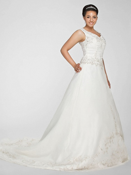 Ball Gown V Neck Court Train Organza Beaded Lace Regular Straps Formal Plus Size Wedding Dresses_3