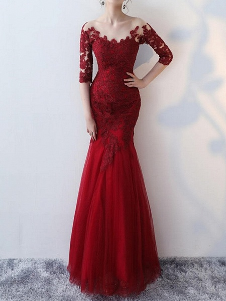 Mermaid \ Trumpet Wedding Dresses Jewel Neck Floor Length Lace Half Sleeve Formal Red_1