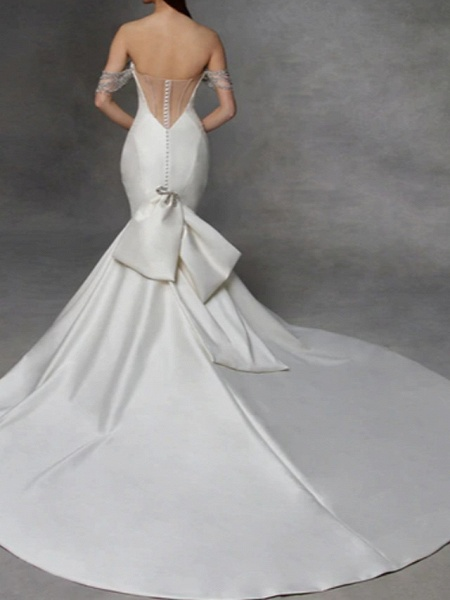 Mermaid \ Trumpet Wedding Dresses Strapless Court Train Tulle Stretch Satin Lace Over Satin Short Sleeve_2