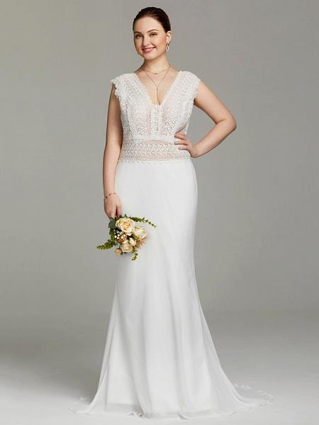 Mermaid \ Trumpet Wedding Dresses V Neck Sweep \ Brush Train Chiffon Lace Sleeveless Open Back See-Through_4