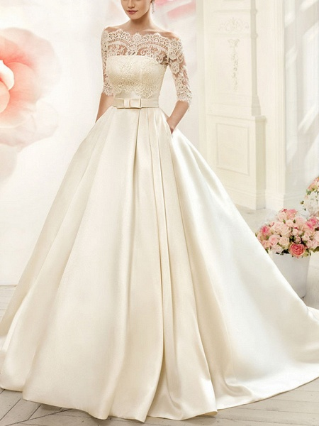 A-Line Wedding Dresses V Neck Court Train Tulle Half Sleeve Glamorous See-Through Illusion Sleeve_1