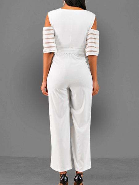 Women's V Neck Blue White Black Slim Jumpsuit_6