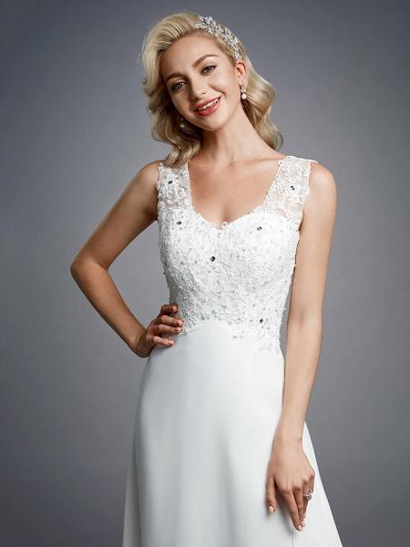 A-Line Wedding Dresses V Neck Floor Length Chiffon Lace Regular Straps Sexy_6