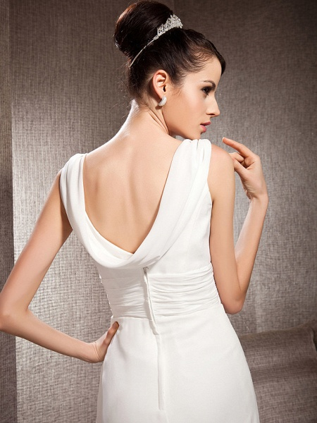 Sheath \ Column Scoop Neck Court Train Chiffon Sleeveless Wedding Dresses_6