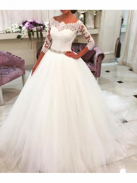 A-Line Wedding Dresses Jewel Neck Sweep \ Brush Train Lace Tulle 3\4 Length Sleeve Formal Illusion Sleeve_3