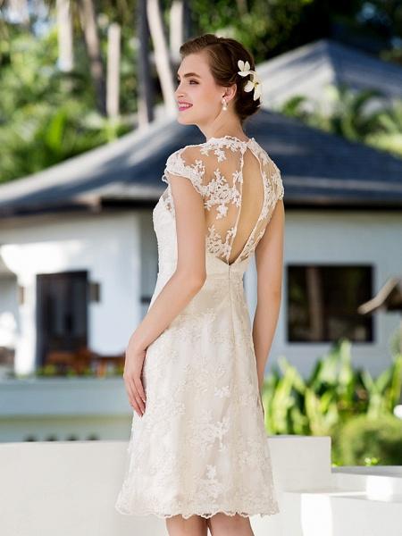 A-Line Sheath \ Column Wedding Dresses Jewel Neck Knee Length Floral Lace Cap Sleeve Vintage Little White Dress Illusion Detail Backless_6