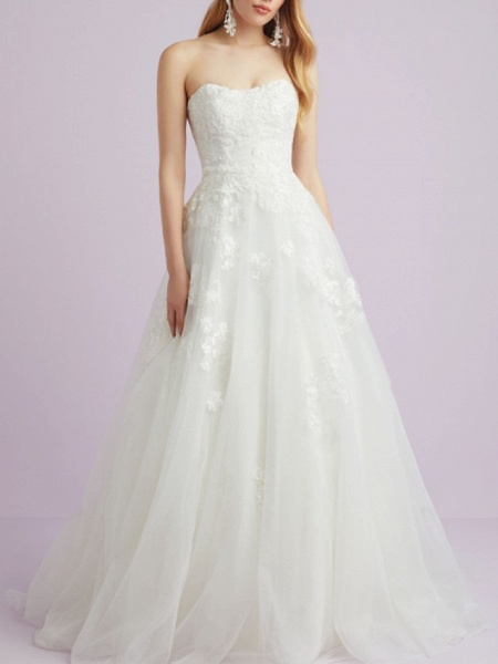 A-Line Wedding Dresses Sweetheart Neckline Court Train Lace Tulle Strapless Romantic Backless_1