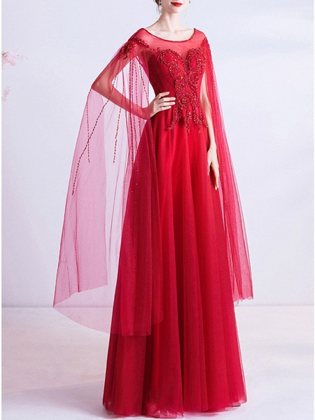 A-Line Wedding Dresses Jewel Neck Floor Length Organza Cap Sleeve Romantic Plus Size Red_2