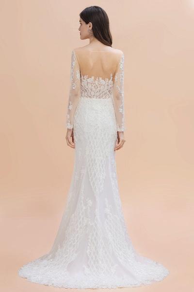 Mermaid Lace Long Sleeve Wedding Dresses With Detachable Train_3