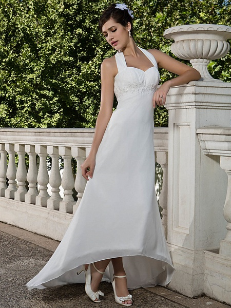 Sheath \ Column Wedding Dresses Halter Neck Sweetheart Neckline Asymmetrical Chiffon Sleeveless_1
